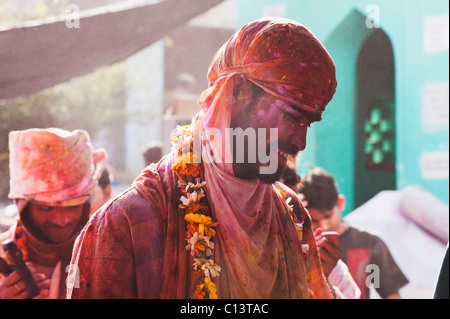 Sadhus celebrating Holi festival, Barsana, Uttar Pradesh, India - Stock Photo