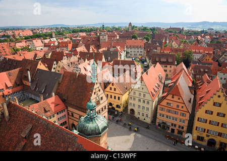 Aerial view of rooftops from Town Hall (Rathaus) tower in old town on Romantic Road. Rothenburg Ob der Tauber Bavaria - Stock Photo