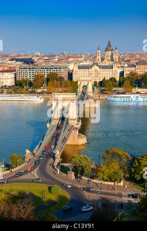 View across the Danube to Pest from The Buda Castle Hill, with the Szecheni Chain Bridge ( Lanchid ). Budapest, - Stock Photo
