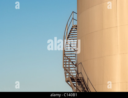 Winding Stairs high on a tower, bathed in sunlight - Stock Photo