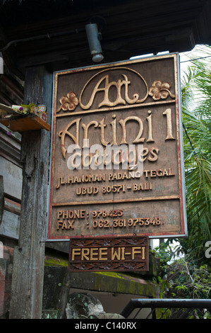 Sign oputside a Balinese home stay in Ubud, Bali, Indonesia - Stock Photo