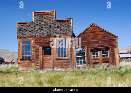 The Sam Leon Bar and Barber Shop in the California ghost town of Bodie. - Stock Photo