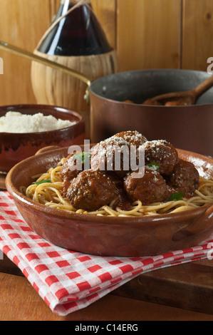 Spaghetti and meatballs - Stock Photo