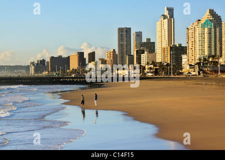 Hotels and apartments at sunrise along the Durban beach front, known as the Golden Mile. Durban, KwaZulu Natal, - Stock Photo