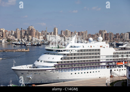 The cruise ship Seven Seas Navigator in the west harbor of Alexandria in Egypt. - Stock Photo