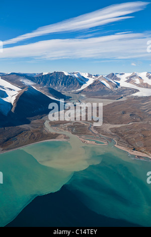 Aerial landscape of Guys Bight, Baffin Island, Nunavut, Canada. - Stock Photo