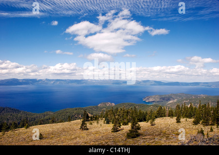 A view of Lake Tahoe from the Tahoe Rim Trail on the summit of South Camp Peak, Nevada. - Stock Photo