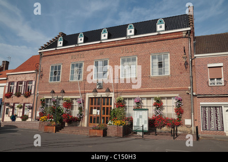 The Hotel de Ville (Town Hall) in the centre of the pretty French town of Wormhout, France. - Stock Photo