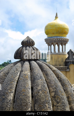 arabic architectural detail of a tower in Pena Palace, Portugal - Stock Photo