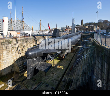HM Submarine Ocelot in her dock at Chatham Historic Dockyard in Kent. - Stock Photo