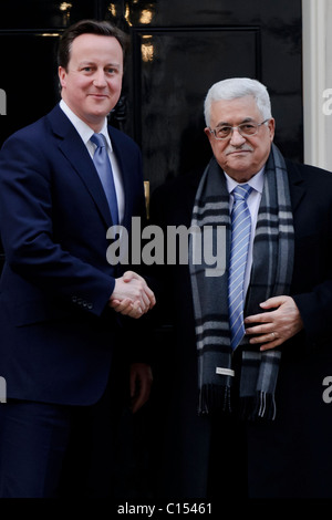 Prime Minister David Cameron meets the President of the Palestinian National Authority, Mahmoud Abbas at 10 Downing - Stock Photo
