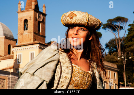 A  woman in a medieval costume at the carnival in Rome, Italy - Stock Photo