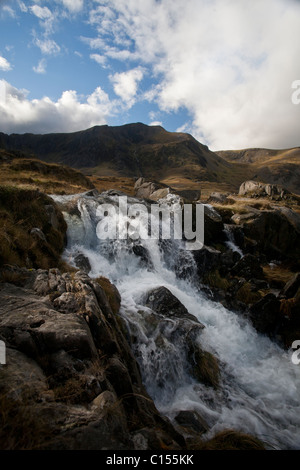 Mountain stream in the Ogwen Valley, Snowdonia National Park, North Wales - Stock Photo