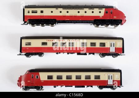 Marklin Trans Europe Express (TEE) model train set - Stock Photo