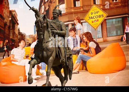 Ban Jelačić Statue , Ban Jelačić Square, City of Zagreb, Croatia - Stock Photo