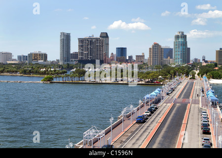 St. Petersburg, Florida cityscape as seen from the pier. - Stock Photo