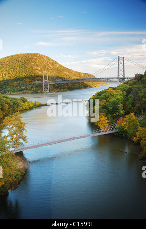 Hudson River valley in Autumn with colorful mountain and Bridge over Hudson River. - Stock Photo