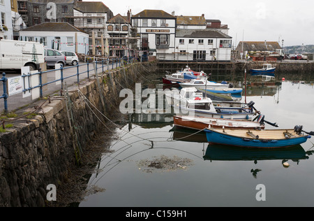Small Boat Harbour at Falmouth. Small fishing boats tied up to the government dock at the inner harbour of Falmouth. - Stock Photo
