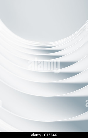 background macro image of black and white pattern made of curved sheets of paper, in a horizontal composition - Stock Photo