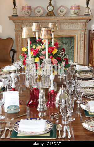 Village of Mey, Scotland. Close up view of dining table set for a formal dinner within the Castle of Mey dining - Stock Photo