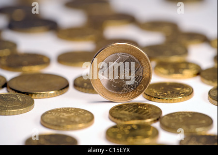 a lot of Euro coins isolated on white - Stock Photo