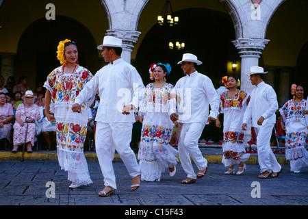 Vaqueria traditional dance, Merida, Yucatan, Mexico - Stock Photo