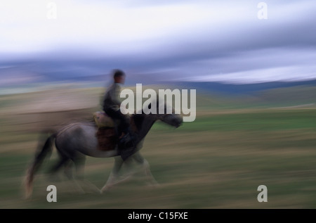 Nomad boy riding a horse, Song-Kul, Kyrgyzstan, Central Asia - Stock Photo