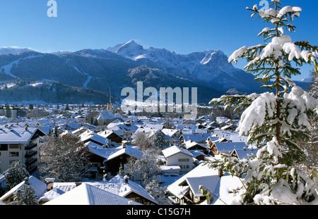 Garmisch-Partenkirchen in winter, Werdenfelser Land, Bavaria, Germany - Stock Photo