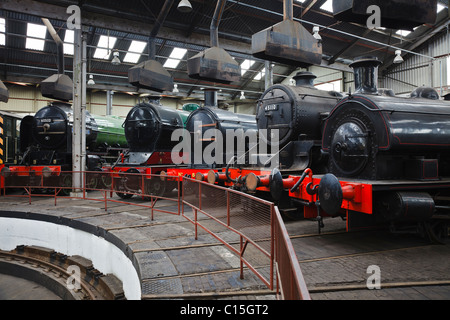 Steam engines at the Barrow Hill Roundhouse museum, near Chesterfield, Derbyshire, England - Stock Photo