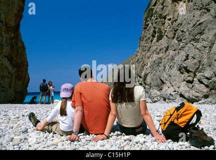 Family, tourists, Sa Calobra, Majorca, Balearic Islands, Spain - Stock Photo