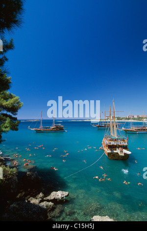 Gulet boats near Incekum, Turkish Riviera, Turkey - Stock Photo