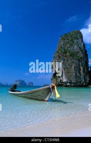 Long-tail boats on Phra Nang Beach, Krabi, Thailand, Southeast Asia - Stock Photo