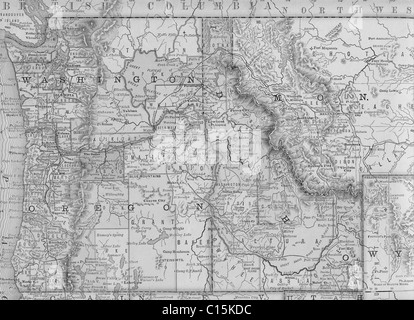 Original Old Map Of Northwest United States From Geography - Us map 1884