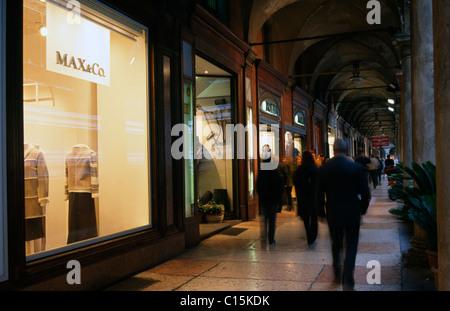 Boutiques, shopping, Bologna, Emilia-Romagna, Italy - Stock Photo