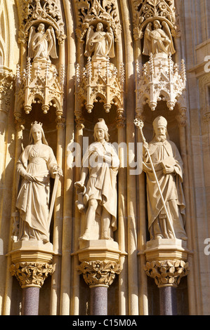 The Neo Gothic statues of the Cathedral of the Assumption of the Blessed Virgin Mary, Zagreb, Croatia Stock Photo