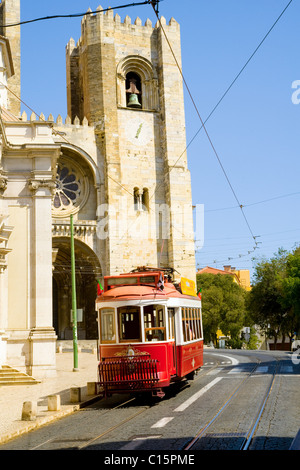 Tram, Se Cathedral, Lisbon, Portugal - Stock Photo