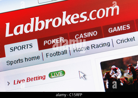 Ladbrokes Online Gambling and Bookmaker. Ladbrokes.com is the Internet Version of the Bookmaker. - Stock Photo