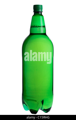 Green Plastic Bottle, Cut Out. - Stock Photo
