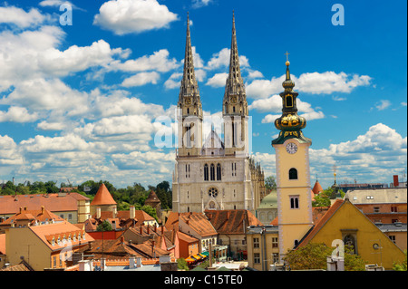 The Neo Gothic Cathedral of the Assumption of the Blessed Virgin Mary, Zagreb, Croatia - Stock Photo