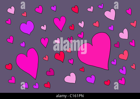 Large number of heart shapes, illustration - Stock Photo