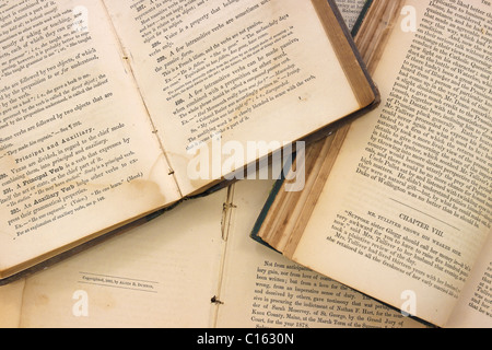 Very old books opened - Stock Photo