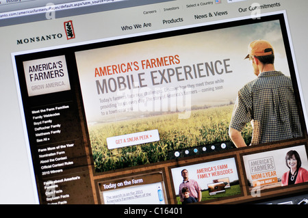 Monsanto website - genetically modified food and seeds corporation - Stock Photo