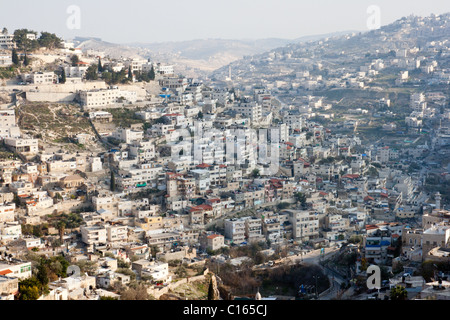 View from the old city walls on East-Jerusalem. Israel - Stock Photo