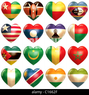 African Hearts set isolated on white - Stock Photo