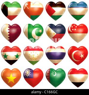 Asian Hearts set isolated on white - Stock Photo