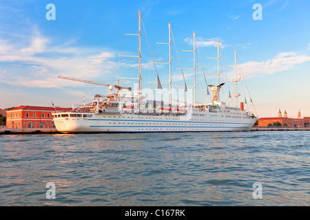 Big sailing boat in Venice port. Vibrant color summer evening shot. another Venice shots available - Stock Photo