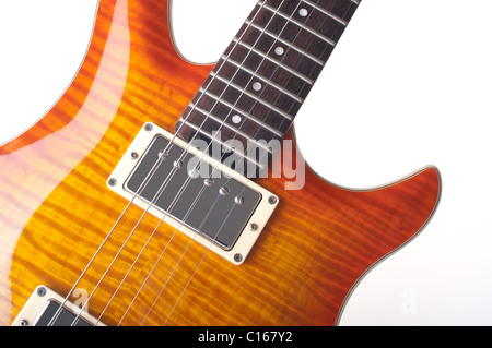 Electric Guitar with maple top, cutout - Stock Photo
