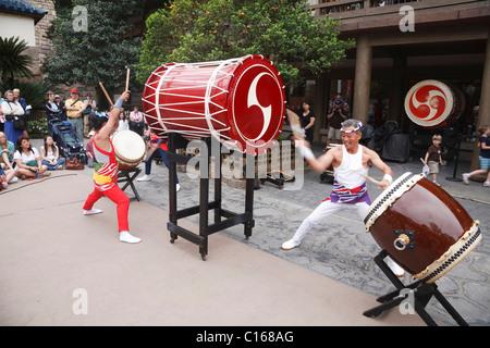 Japanese Taiko Drummers perform at the Epcot centre, Walt Disney World Resort, Orlando, Florida - Stock Photo