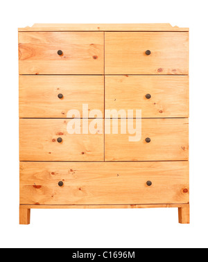 Contemporary pine chest of drawers isolated against a white background with clipping path - Stock Photo