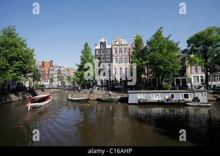 Brouwersgracht, Prinsengracht Corner, Amsterdam, Netherlands, Europe - Stock Photo